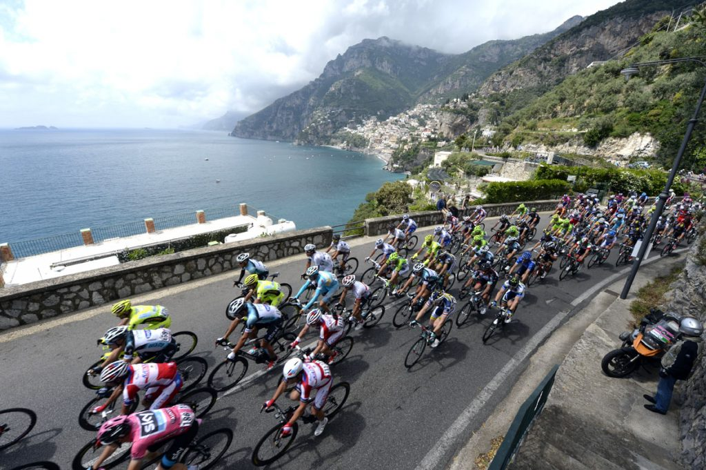 Amalfi Coast with cyclists in foreground