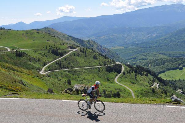 Cyclist climbing Pyrenees